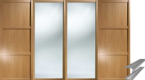 OAK SLIDING PANEL AND MIRROR WARDROBE DOORS